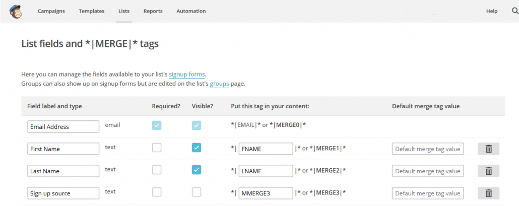 MailChimp merge tag fields used for email list segmentation