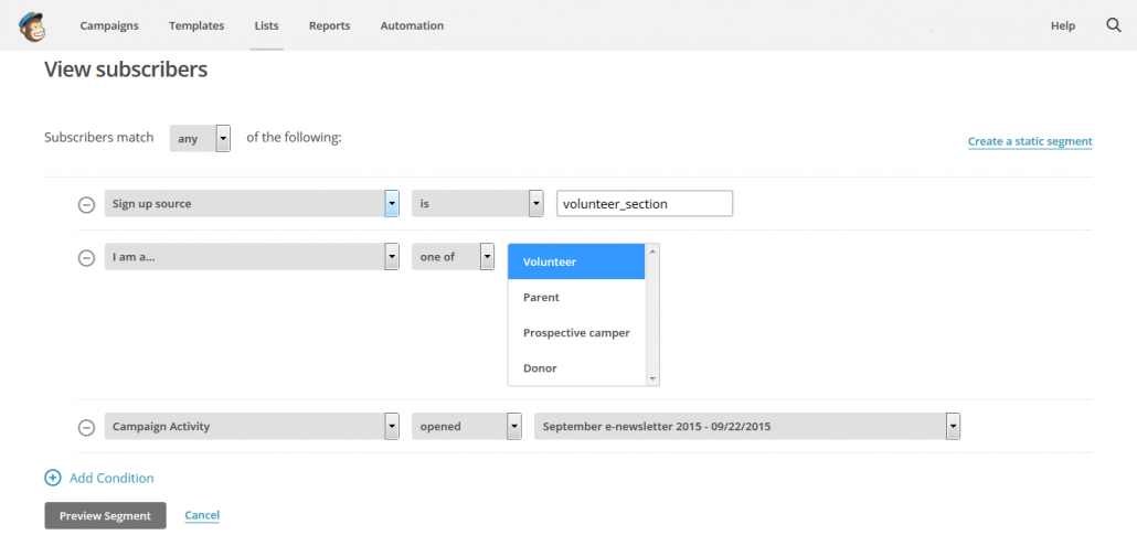 Screenshot of how to create segements in for email lists in MailChimp