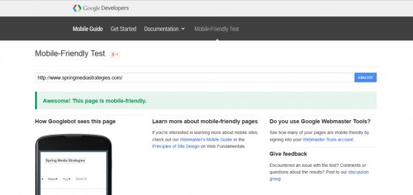 Google Developers mobile test
